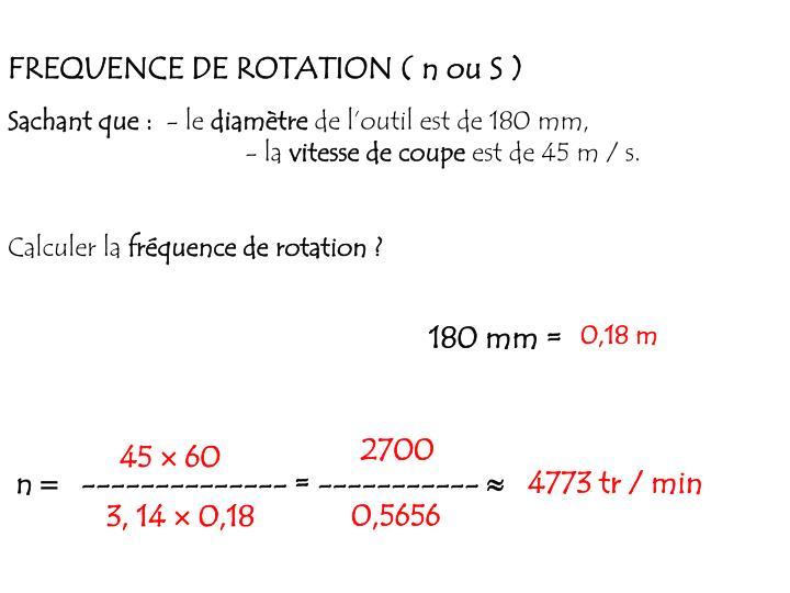 FREQUENCE DE ROTATION ( n ou S )