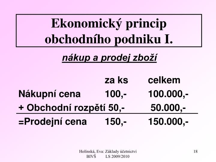 Ekonomický princip obchodního podniku I.