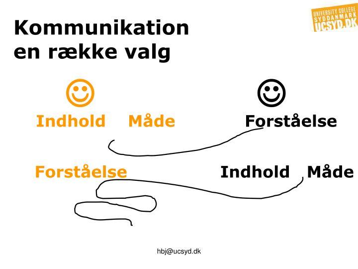 Kommunikation                               en række valg
