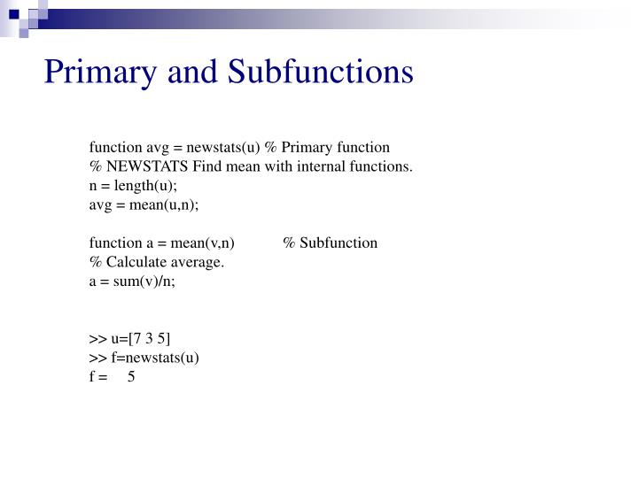 Primary and Subfunctions