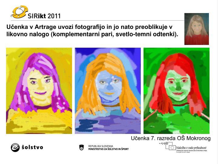 Učenka v Artrage uvozi fotografijo in jo nato preoblikuje v likovno nalogo (komplementarni pari, svetlo-temni odtenki).