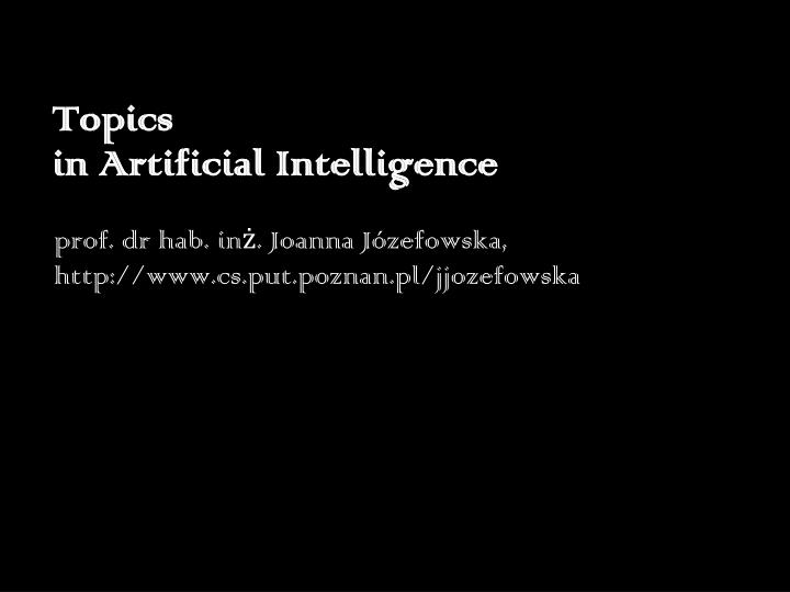 topics in artificial intelligence n.