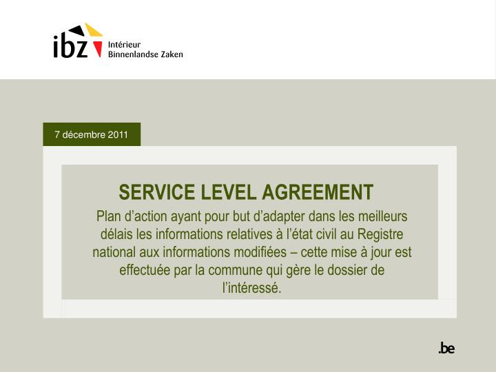 service level agreement n.
