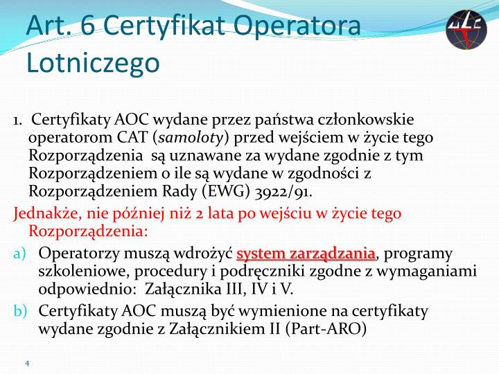Art. 6 Certyfikat Operatora Lotniczego