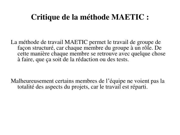 Critique de la méthode MAETIC :
