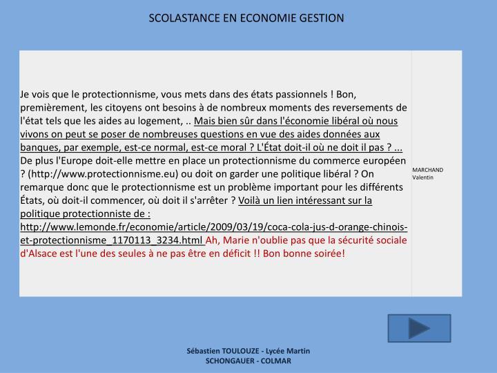 SCOLASTANCE EN ECONOMIE GESTION