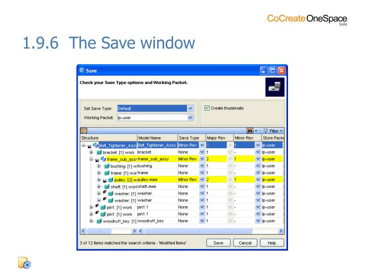 1.9.6  The Save