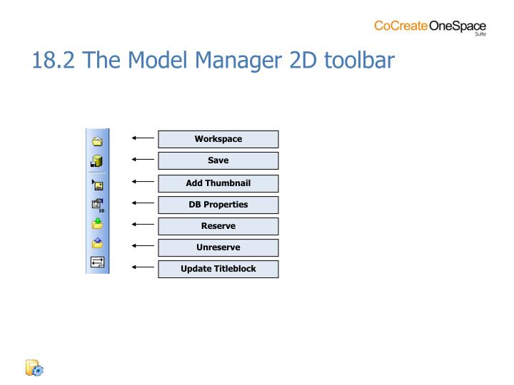 18.2 The Model Manager 2D toolbar