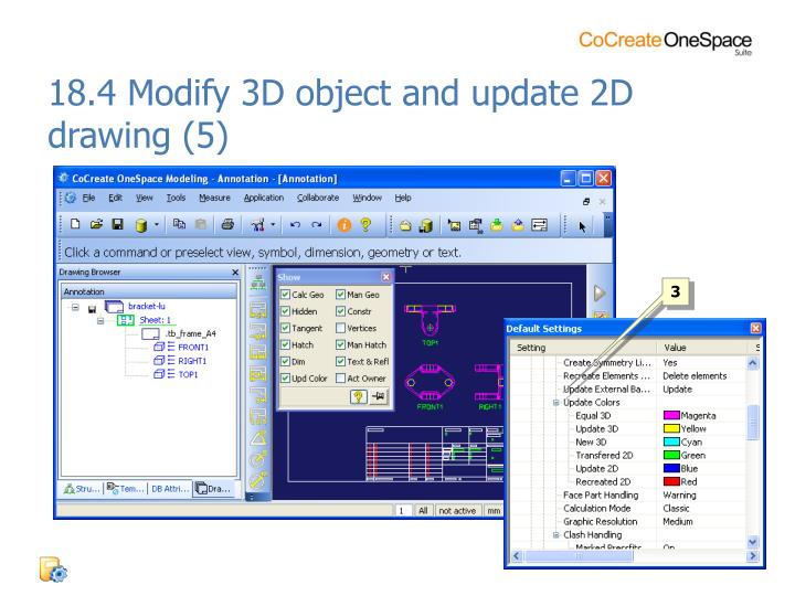 18.4 Modify 3D object and update 2D drawing (5)