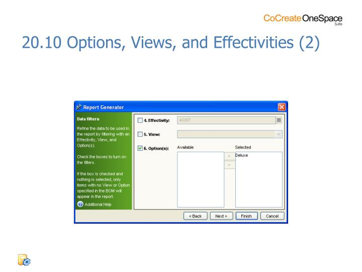 20.10 Options, Views, and Effectivities (2)