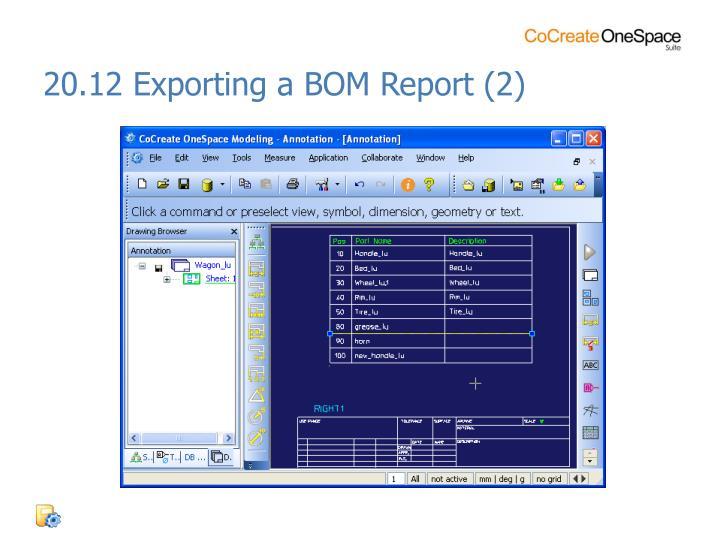 20.12 Exporting a BOM Report (2)