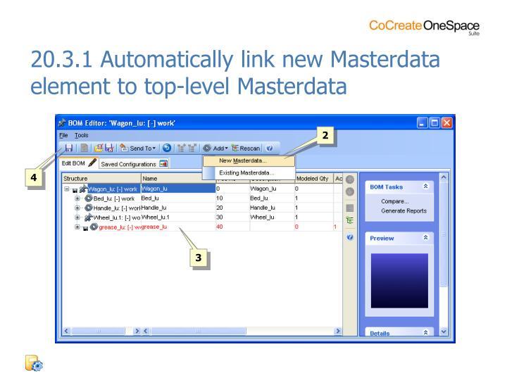 20.3.1 Automatically link new Masterdata element to top-level Masterdata