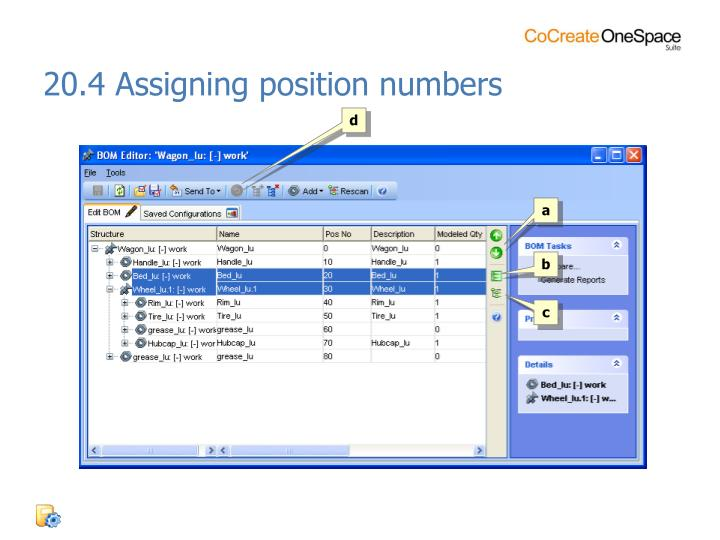20.4 Assigning position numbers