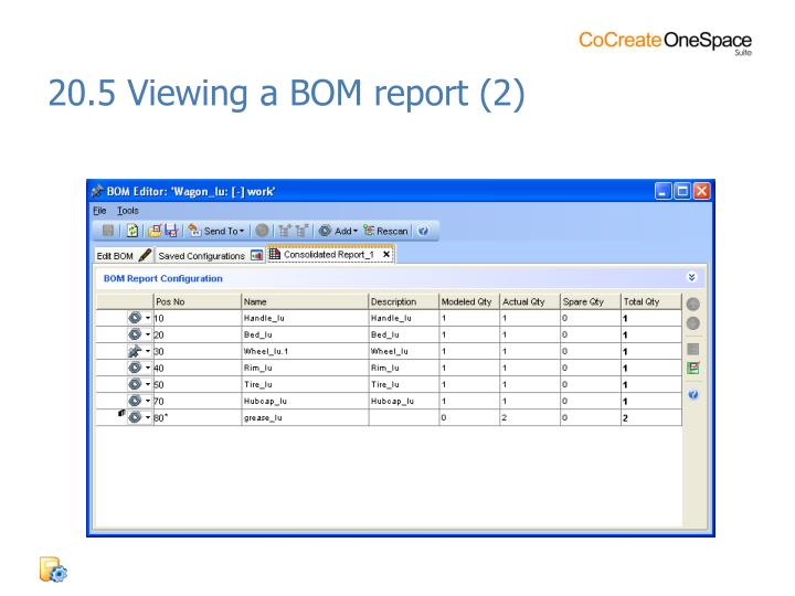20.5 Viewing a BOM report (2)