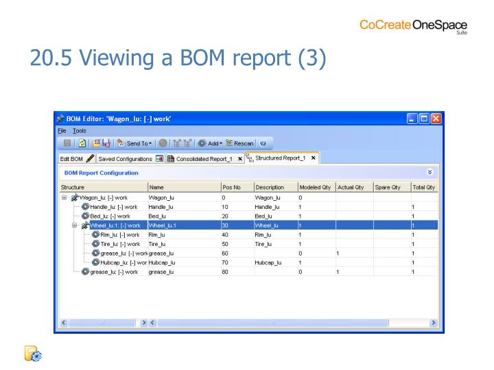 20.5 Viewing a BOM report (3)