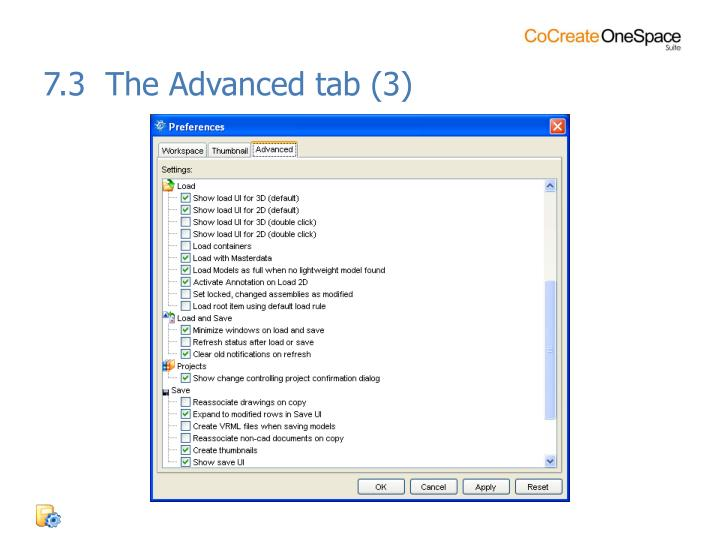 7.3  The Advanced tab (3)