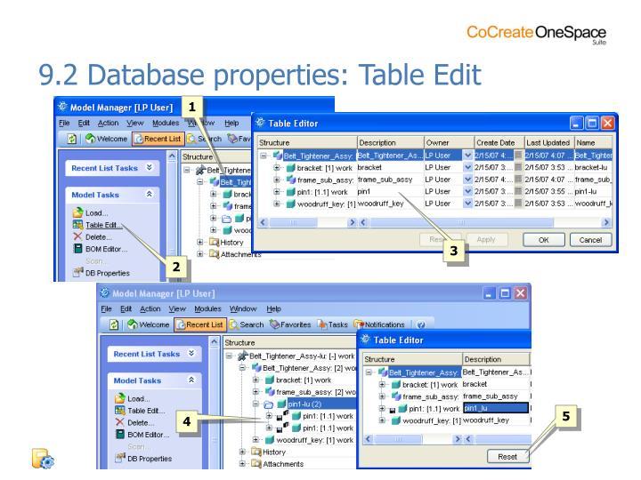 9.2 Database properties: Table Edit
