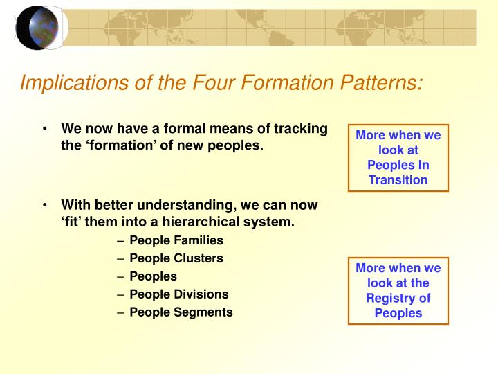 Implications of the Four Formation Patterns: