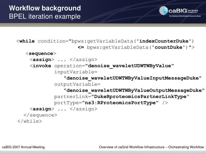 Workflow background
