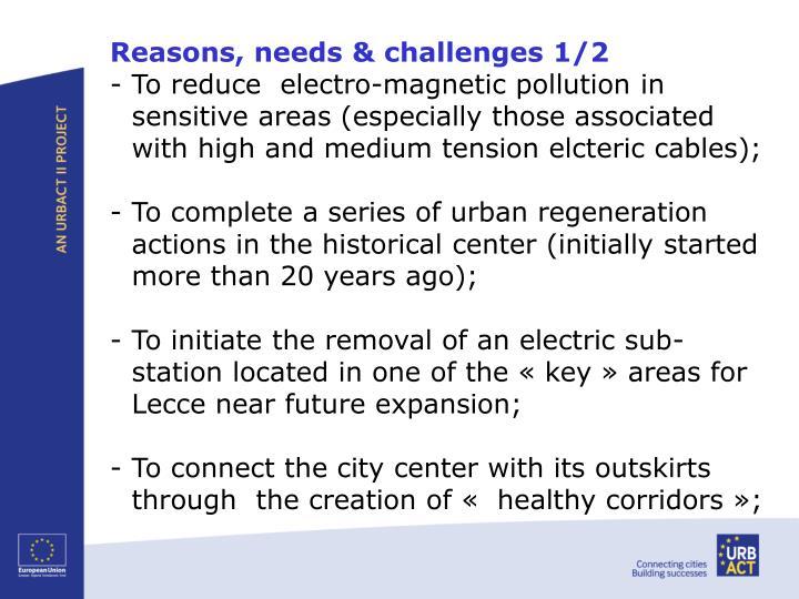 Reasons, needs & challenges 1/2