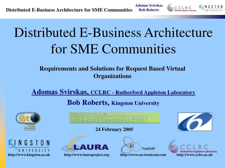 distributed e business architecture for sme communities n.