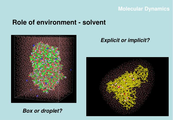 Role of environment - solvent