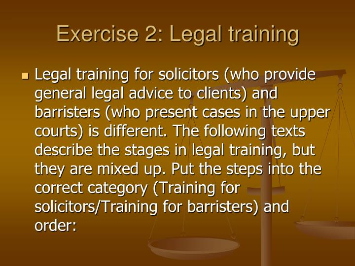 Exercise 2: Legal training