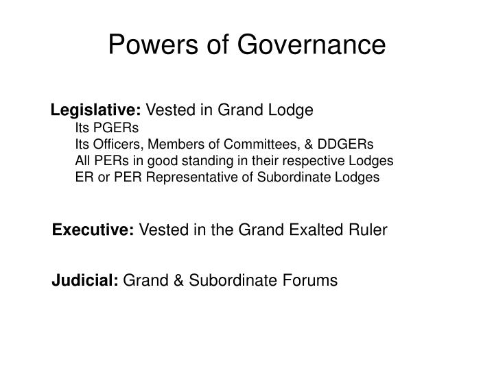 Powers of Governance
