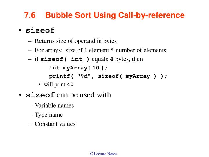 7 6 bubble sort using call by reference1