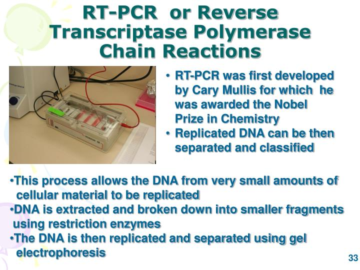 RT-PCR  or Reverse Transcriptase Polymerase Chain Reactions