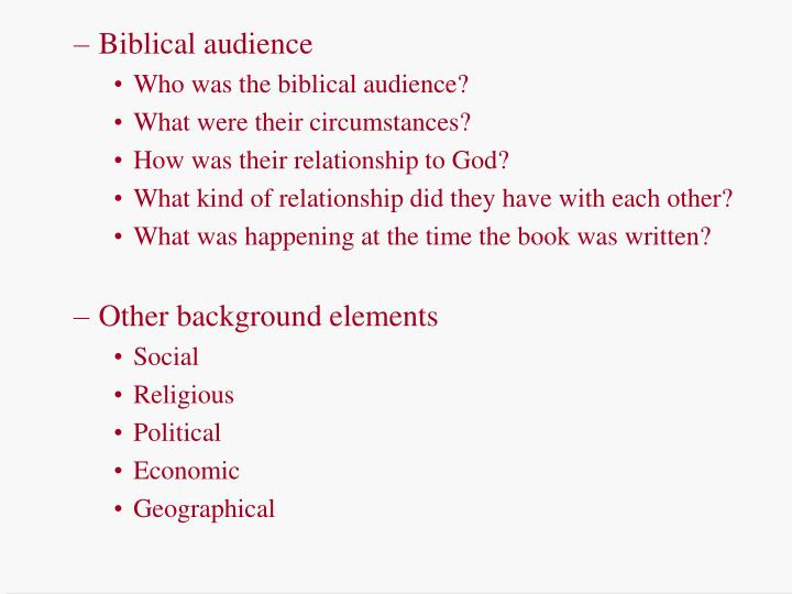 Biblical audience