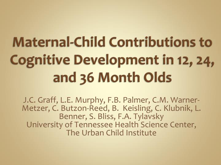 Maternal child contributions to cognitive development in 12 24 and 36 month olds