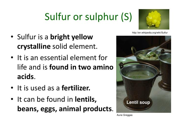 Sulfur or sulphur