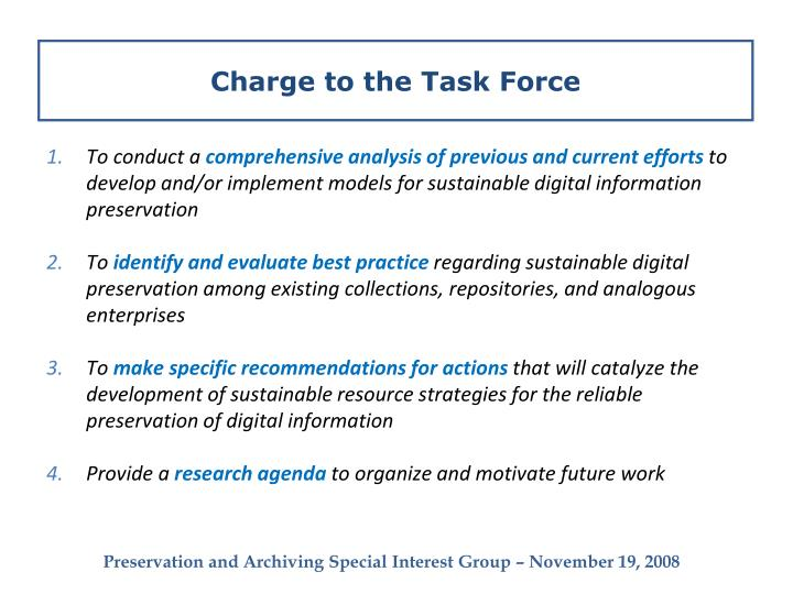 Charge to the Task Force