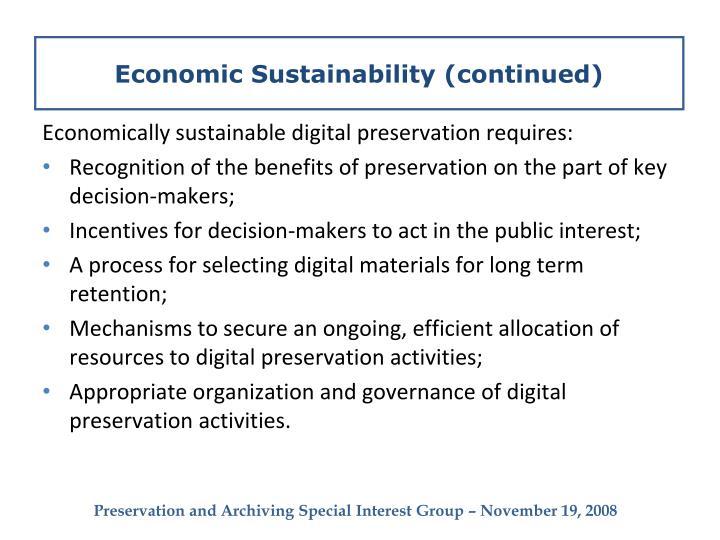 Economic Sustainability (continued)