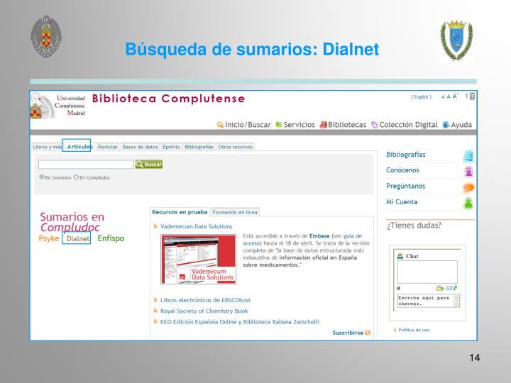 Búsqueda de sumarios: Dialnet