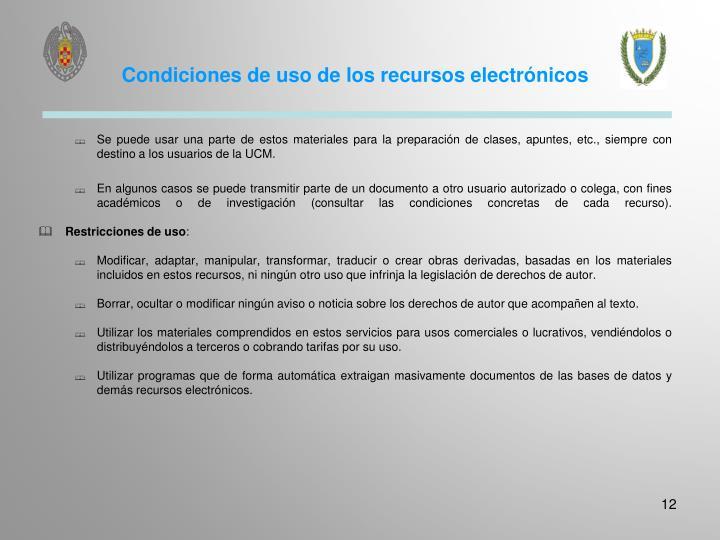 Condiciones de uso de los recursos electrónicos