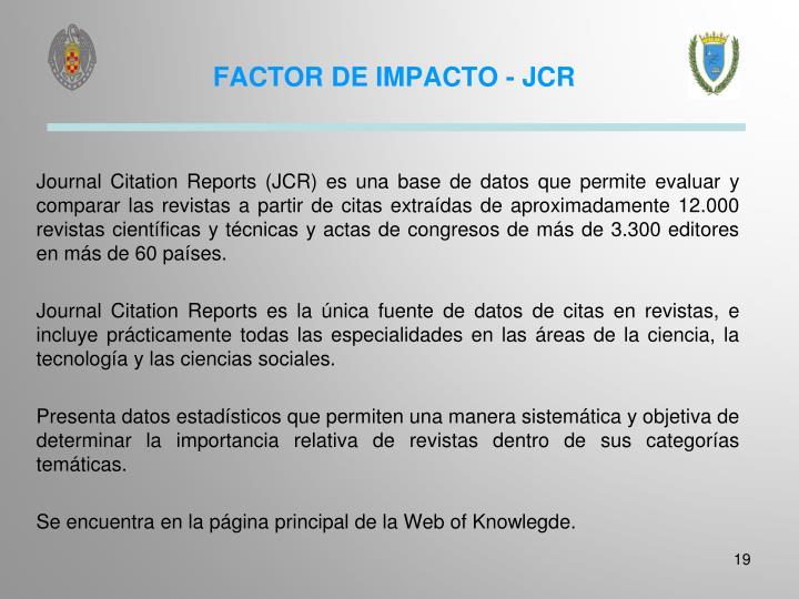FACTOR DE IMPACTO - JCR