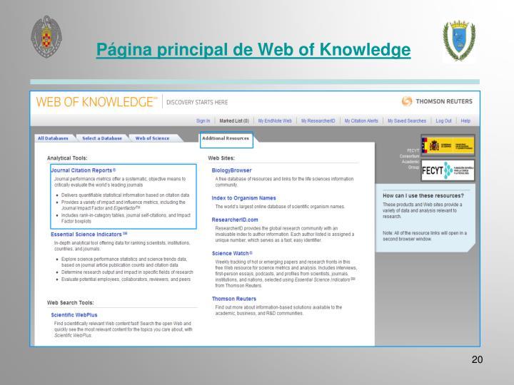 Página principal de Web of Knowledge