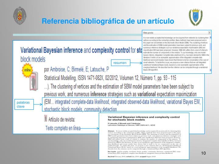 Referencia bibliográfica de un artículo