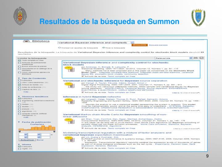 Resultados de la búsqueda en Summon