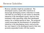 reverse subsidies