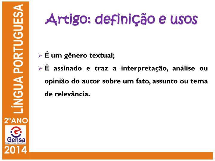 Artigo: definição e usos