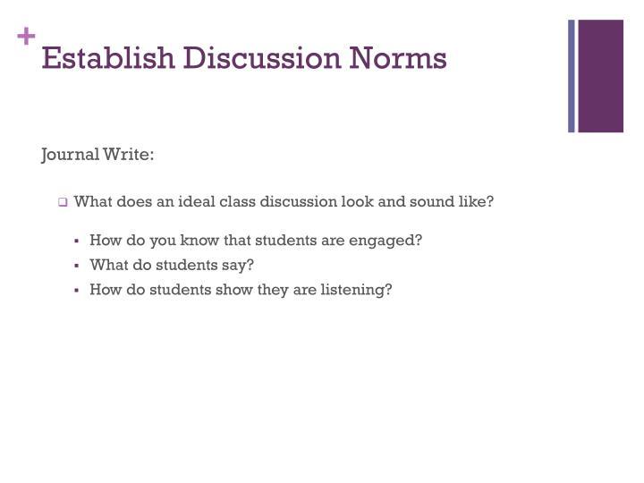 Establish Discussion Norms