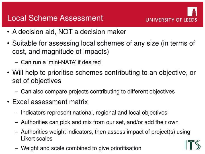 Local scheme assessment
