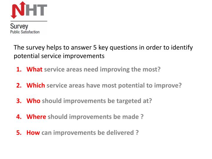 The survey helps to answer 5 key questions in order to identify potential service improvements