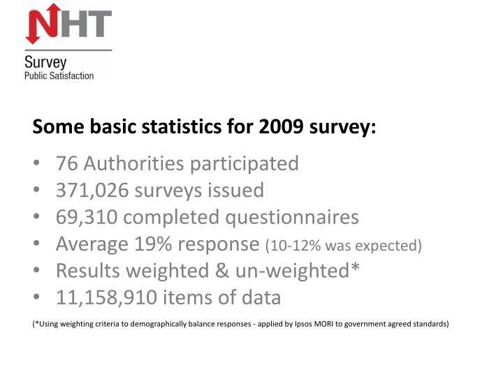 Some basic statistics for 2009 survey: