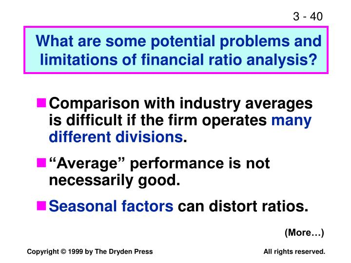 limitations of ratio analysis Financial ratios are numerical representations of a business's performance you can calculate such ratios by dividing one figure from the balance sheet, income statement or cash flow statement by another for example, the current ratio equals short-term assets divided by short-term liabilities.