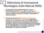 definizione di innovazione tecnologica oslo manual 2005