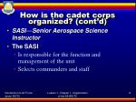 how is the cadet corps organized cont d